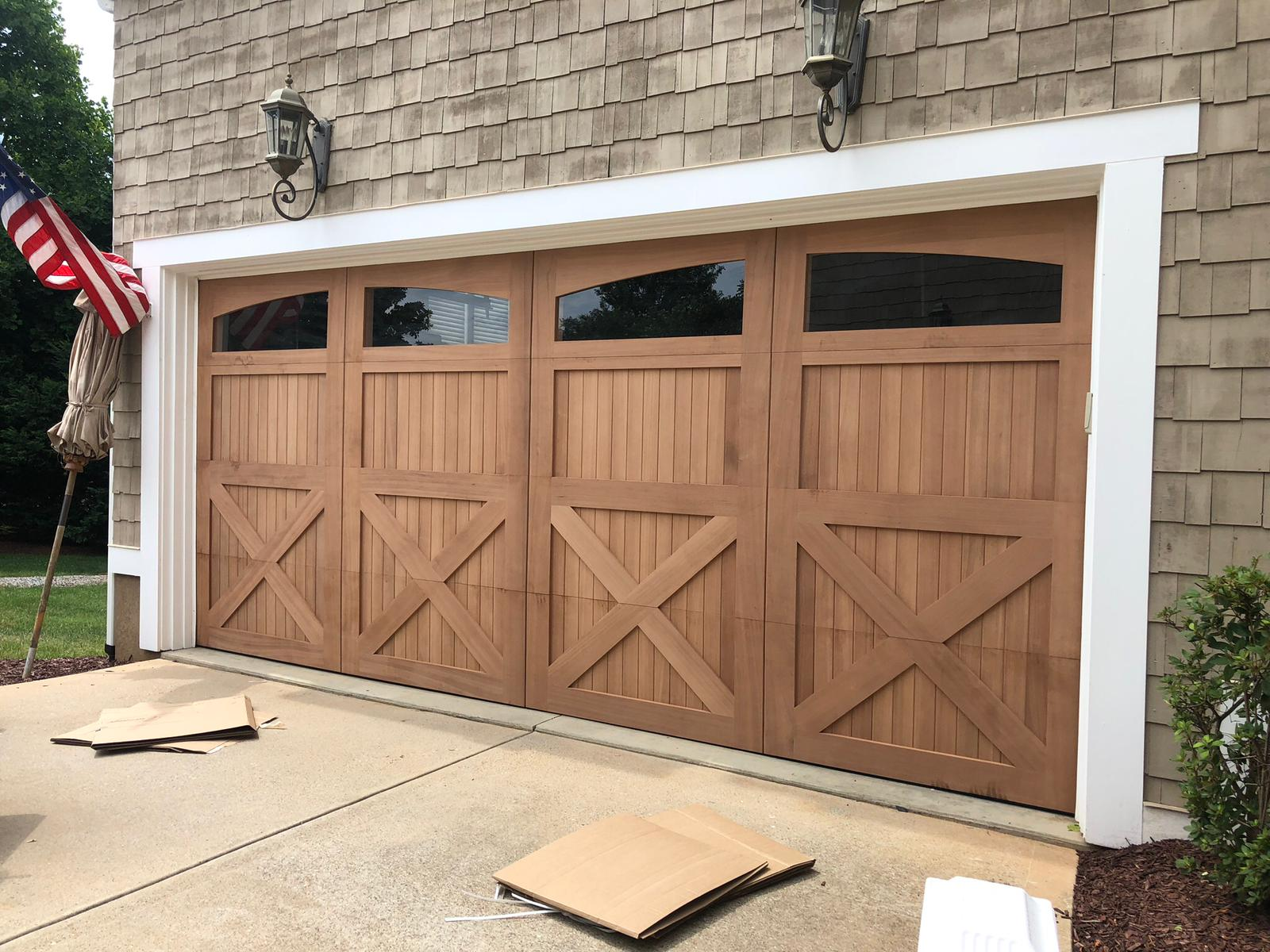 Amarr wood garage door installation 1