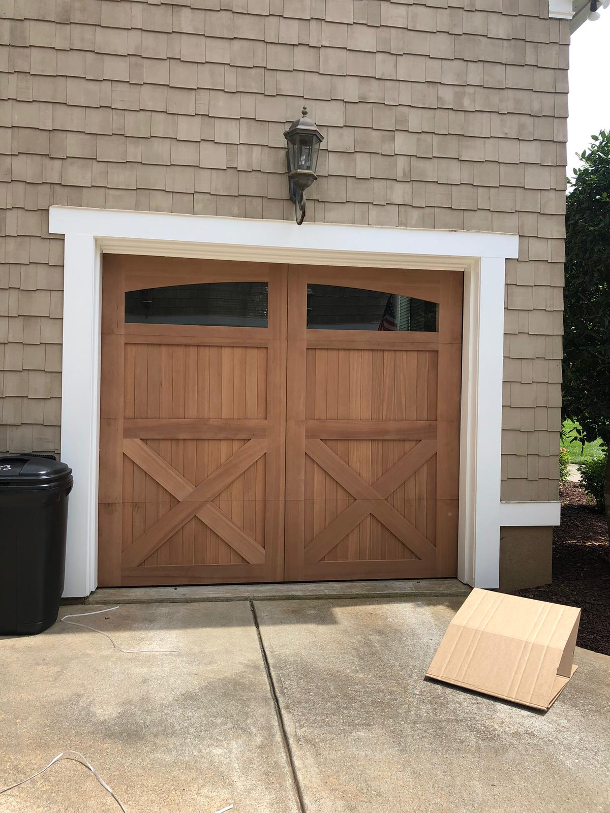 Amarr wood garage door installation 2