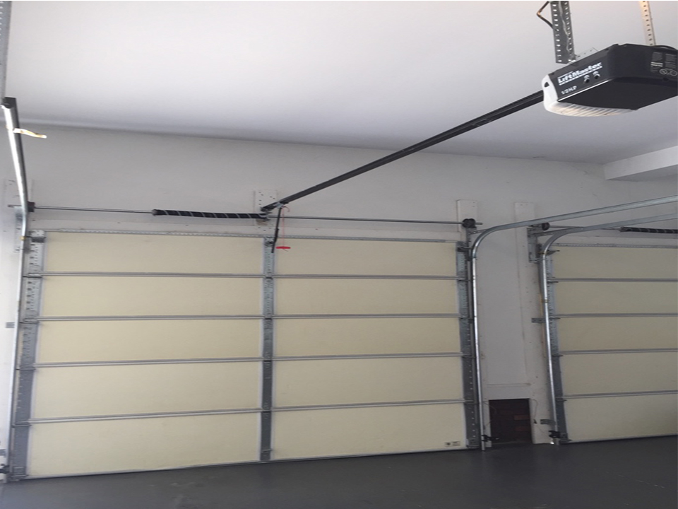 Double garage door inside